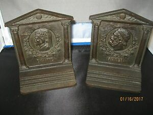 Bradley And Hubbard Cast Iron Bookends Of Dante And Homer
