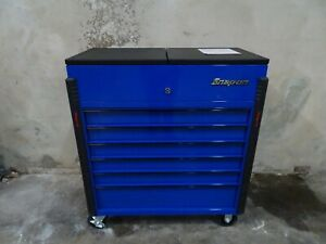 Snap On 40 Sliding Lid 6 2 Drawer Tool Box Shop Cart Royal Blue Black Trim