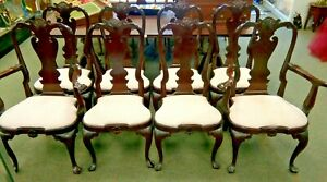 8 Stickley Colonial Williamsburg Mahogany Queen Anne Dining Chairs