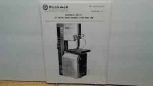 Rockwell 20 Wood And Metal Cutting Band Saw Manual