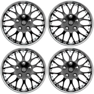 4 Pc Set Hub Cap Ice Black Chrome Trim 14 Inch Rim Wheel Cover Caps Covers