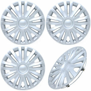 4 Pc Set Of 15 Inch Silver Hub Caps w Metal Clips Covers For Oem Steel Wheel