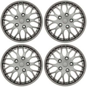 4 Piece Set Hub Caps Matte Gunmetal 15 Inch Wheel Covers For Oem Rims Cover Cap