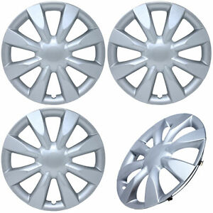 Set 4pc Silver Hub Caps Fits Steel Wheels 15 With Metal Clips Wheel Covers Cap