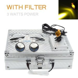 Dental 3w Led Headlight With Filter 3 5x Binocuar Loupes With Aluminum Box Siver