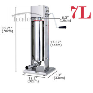 7l Manual Vertical Sausage Stuffer Stainless Steel Meat Filler Brand New