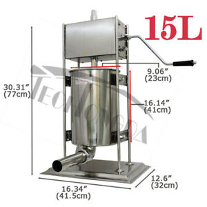 15l Manual Vertical Sausage Stuffer Stainless Steel Meat Filler Brand New