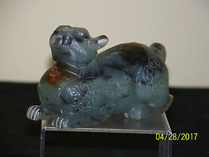 Chinese Jade Carved Foo Dog Beast Archaic Design Statue Translucent Sculpture