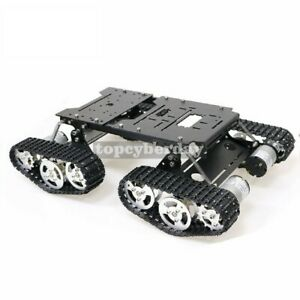 4wd Robot Tank Chassis Kit With Shock Absorbing 12v 300rpm Motors With Encoder