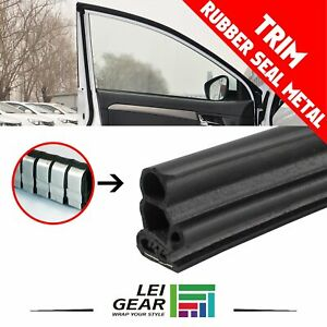 Black Rubber Seal Edge Trim Metal Moulding Stripping Lock Protect Ornament 32ft