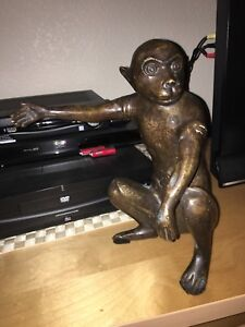 Large Old Chinese Bronze Color Monkey Figurine With Gold Guild Reign Marked