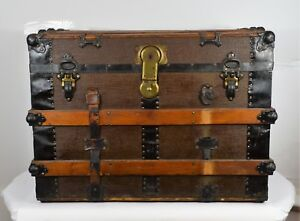 Small Antique Steamer Trunk Brown 1890 1920 W 29 3 4 D 18 1 2 H 20 3 3 4