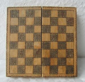 Antique Vintage Checkerboard Game Box Pokerwork Wooden Chess Board 6