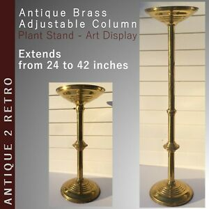 Antique Fern Plant Brass Pedestal Stand Height Adjustable From 24 To 42