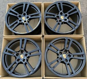 Porsche Panamera Turbos S Factory Oem 20 Wheels Rims Gloss Black Genuine 5x130