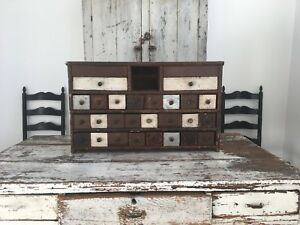 Early Antique Folk Art Primitive 26 Drawer Wood Apothecary Cabinet Old Crates