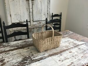 Early Antique Aafa Folk Art Small White Harvest Narrow Splint Picnic Basket