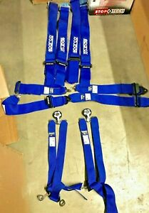 Pair Of Sparco Racing 6 Point Seat Belt Harness Blue