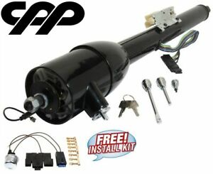 33 Inch Black Gm Style Tilt Steering Column Floor Shift With Key Ignition