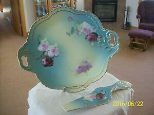 Victorian Style Vintage Floral Rose Turquoise Charger Cake Plate With Server