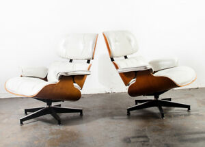 Mid Century Modern Lounge Chair Set Eames Herman Miller White Pair Set Authentic