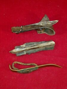 Lot Of 3 Antique Vintage Corn Husker Shucker Farm Tool Metal With Leather Handle