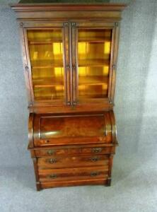 Cylinder Secretary Desk Antique Mahogany Burl