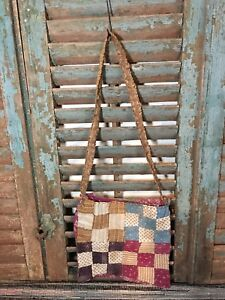 Sweet Antique Primitive Early Calico Farm Garden Gathering Bag Child Made Aafa