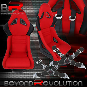 Red Black Fiberglass Racing Seat 2x 4 Point Safety Camlock Seat Belts