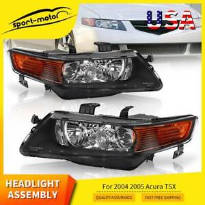 Black Projector Headlight For 2004 2005 Acura Tsx Xenon Hid Headlamp Replacement