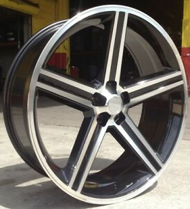 24 Inch Iroc Black Machine Wheels Tires Package Fits Lincoln Towncar 5x115