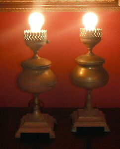 Vintage Aladdin Brass Lamps Pair Of 2 Electric Working