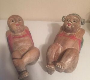 Vintage Asian Old Chinese Boxwood 9 Hand Carved Male And Female Figures