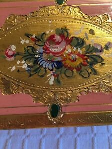 Vintage Italian Painted Wood Box Hinged 5x3x2 Pink W Gold Floral Medallion