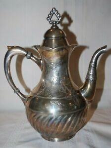 Antique Victorian Teapot Coffee Pot Repousse Derby Silver Quadruple Plate
