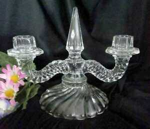 Vintage Fostoria Colony Double Candlestick Glass Candle Holder Candelabra Vgc
