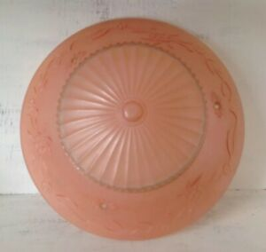 Vintage Antique Art Deco Pink Ornate Glass Ceiling Light Shade W 3 Chain Holes