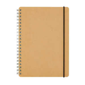 Muji A5 Double Ring Notebook Recycled Paper 70 Sheets Beige Dot Grid Rubber Fs