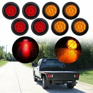 8x 2 Round Side Marker Universal Tail Light 9 Led Flower Petal Red Amber W Grom