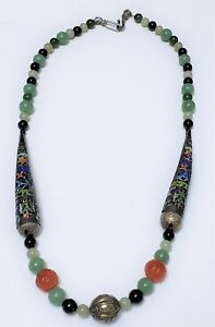 Chinese Jade Bead Enameled Sterling Silver Nail Guard Necklace