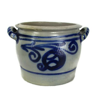 Antique French Stoneware Earthenware Crock Jar Lard Cobalt Gray Decorative 7 48