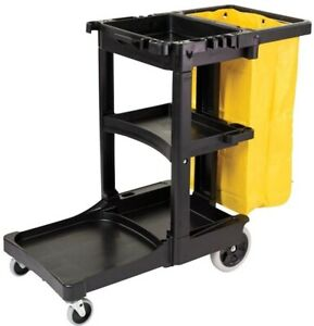 Cleaning Cart Plastic With Zippered Yellow Vinyl Bag Storage Wheels And Casters
