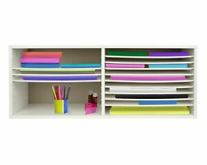 Adiroffice White Wood 16 Shelf Adjustable Home Office Paper File Organizer