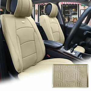 Car Suv Truck Pu Leather Seat Cushion Covers Bucket Beige W Dash Mat For Auto