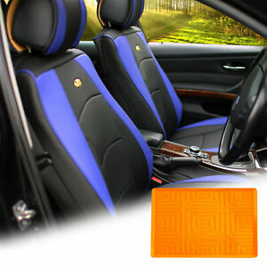 Pu Leather Seat Cushion Covers Front Bucket Blue W Orange Dash Mat For Auto