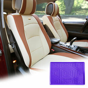 Pu Leather Seat Cushion Covers Front Bucket Beige W Purple Dash Mat For Auto