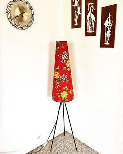 Tripod Floor Lamp Light Mid Century Roses Red Atomic Space Age 70s Vintage Lamp