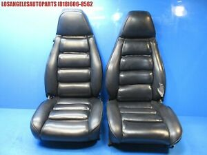 1978 1984 Porsche 928 Front Power Black Leather Seats W Rails Motors Oem