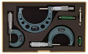 Mitutoyo 103 922 Outside Micrometer Set With Standards 0 3 Range 0 0001 Grad