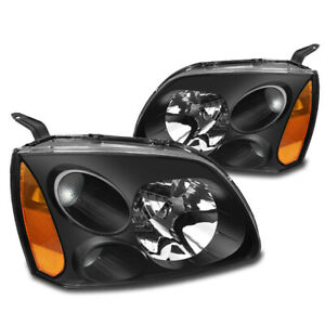 For 2004 2012 Mitsubishi Galant Black Replacement Crystal Style Headlights Lamps